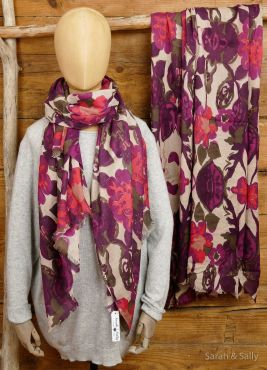 Cotton Twill Tuch in Aubergine mit Blumen